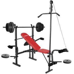 Banco de pesas y discos de pesas