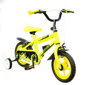 bicicleta color amarillo con rueditas