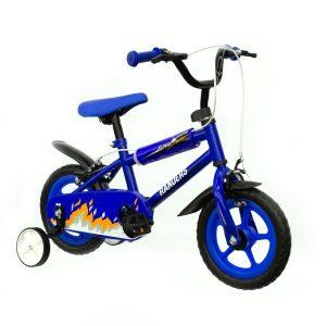 bicicleta color azul con rueditas