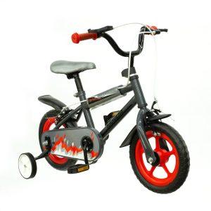 bicicleta color gris con rueditas