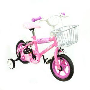 bicicleta color rosa con rueditas y canasto