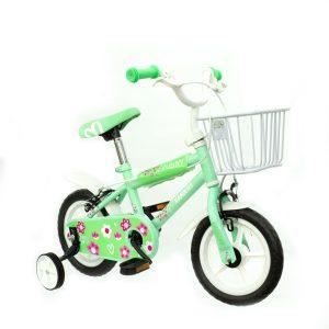 bicicleta color verde con rueditas y canasto