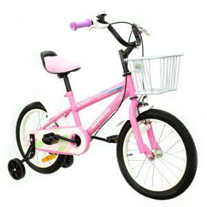 Bicicleta color rosa con canasto y rueditas