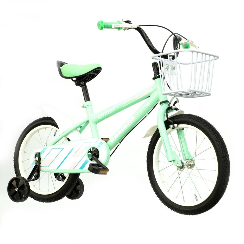 Bicicleta color verde con canasto y rueditas