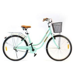 bicicleta de paseo con canasto color verde
