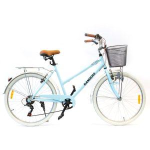 bicicleta de paseo color celeste con canasto